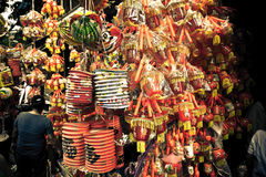 Full moon decorations at a market stall in Asia Royalty Free Stock Photos