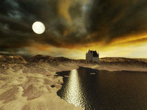 Full moon desolate alien planet. Desolate Alien world with rocky dunes and moon shining on the water.An abandoned building is in the background Stock Photography