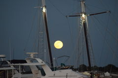 Full Moon at the Dock Stock Image