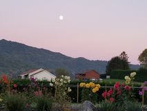 Full moon in an early evening sky in North Carolina moutains. Royalty Free Stock Photography