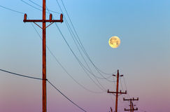 Full Moon in Early Morning Stock Photo