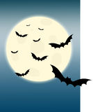 Full moon and flying bats. Bats flying under full moon royalty free illustration