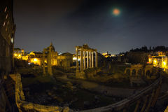 Full moon at the Forum Romanum - Wide Angle version Royalty Free Stock Photos