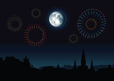 Full Moon French Quarter. Full moon and fireworks rise over a skyline silhouette of the French Quarter in New Orleans, Louisiana, USA Stock Photography