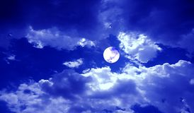 Full Moon Night Clouds Sky Banner Background. royalty free stock photography