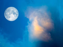 full moon Gold cloud in the blue sky Royalty Free Stock Image