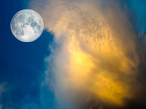 full moon Gold cloud in the blue sky Royalty Free Stock Images
