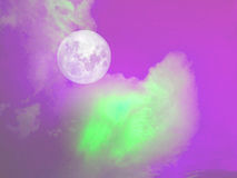 Full moon green cloud in the purple sky Royalty Free Stock Image