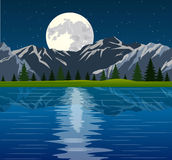 Full moon and group of trees reflected Royalty Free Stock Images
