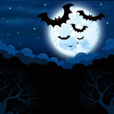 Full moon in the Halloween Stock Photography