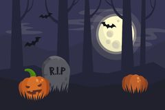 Full moon Halloween night, dark spooky graveyard and forest behi Royalty Free Stock Photography