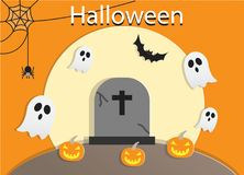 Full Moon Halloween Night with Graves and Ghost Background Illustration Stock Photos