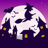 Full Moon Halloween Night. Halloween night scene background with the full moon, bats and a witch flying over a little town. Eps file available Stock Photos