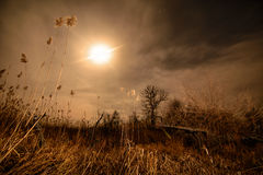 Full moon halo rays - night full moon landscape Stock Photo