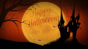 Full Moon Happy Halloween Castle 4K Loop. Features a full moon in an orange sky with a tree and castle silhouette and bats flying and a hand written Happy stock video