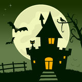 Full Moon Haunted House. Halloween night scene background with the full moon, bats flying and a spooky haunted house. Eps file available Royalty Free Stock Photography