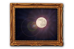 Full moon image in painting frame Royalty Free Stock Images