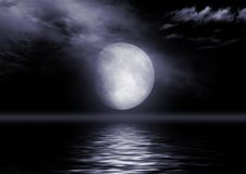Full moon image with water Royalty Free Stock Photography