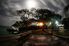 Full moon in Isla Fuerte. A night photo of a house in Isla Fuerte Stock Photo