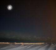 Full moon, lake Ladoga, Leningrad region ,Russia Royalty Free Stock Photo