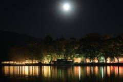 Full moon at lake Pamvotis and Ioannina city royalty free stock image
