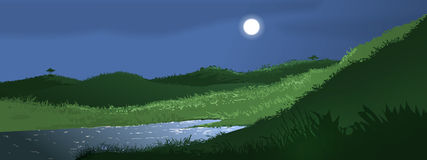 Full Moon Landscape. A computer generated illustration of a full moon shining over a small pond surrounded by hills royalty free illustration