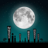Full Moon Landscape Illustration Royalty Free Stock Photos