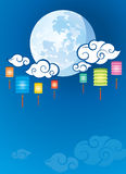 Full moon and Lanterns background illustration Stock Photos