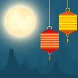Full moon and lanterns festival background. Design Royalty Free Stock Images