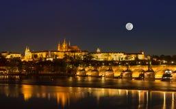 Full Moon with Light up Prague castle , Prague royalty free stock image