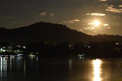 Full moon on the Mekong River royalty free stock photography