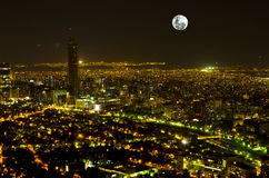 Full Moon Metropolis Royalty Free Stock Image