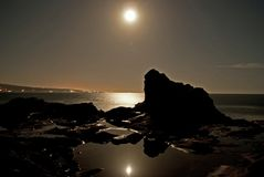 Full moon mirrored Royalty Free Stock Photo