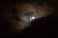 Dark Sky With Full Moon, Lunar Eclipse. Dark Sky With Full Moon, Stars And Clouds, Lunar Eclipse Stock Image