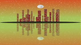 Full moon movement overlooking. The modern city skyline with transition of sky from evening stock video footage