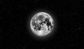Full moon. Almost full moon. Natural earth satelite in cosmic space view Royalty Free Stock Images