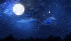 Full moon night. Dark night with full moon and star Royalty Free Stock Photos
