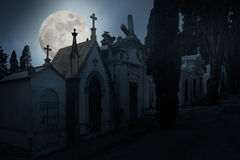 Full moon night cemetery Stock Photography