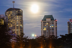 Full moon night in the city. Royalty Free Stock Photography