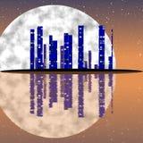 Full moon night, cityscape illustration with lighting buildings on island Stock Photos
