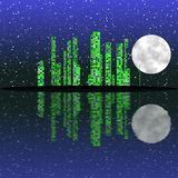 Full moon night, cityscape illustration with lighting buildings on island Stock Images