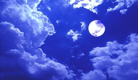 Full Moon Night Clouds Sky Banner Background. stock photography