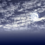 Full moon on the night cloudy sky Stock Image