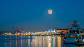 Full moon night at downtown Vancouver Canada Stock Images