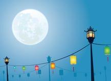 Full moon night mid autumn festival. Full moon night for Chinese mid autumn festival design backgrounds Royalty Free Stock Photo