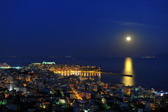 Full moon night over Kavala Royalty Free Stock Photos