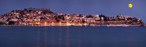 Full moon night over Kavala Royalty Free Stock Image