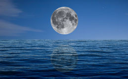 Full moon at night over the sea Royalty Free Stock Image