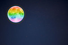 Full moon in the night starry sky background, copy space Royalty Free Stock Image