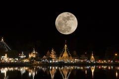 Full moon in night time fo Wat Jong Kham and Jong Klang at Mae Hong Son province, Thailand.  stock photo